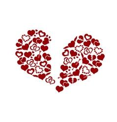 red valentine broken hearth love symbols in big vector image