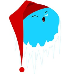 Sleeping frozen planet with red hat vector