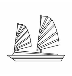 Vietnamese junk boat icon outline style vector