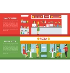 Fresh pizza and snack menu flat concept web vector