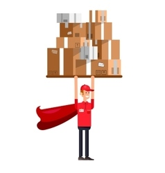 Funny delivery character man vector