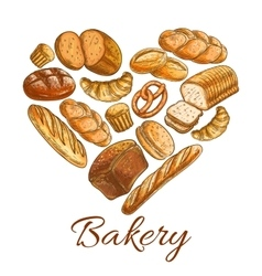 Bakery shop heart symbol of sketch bread vector