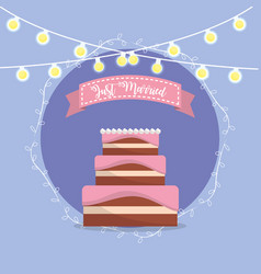 Cake with just married message in the ribbon vector