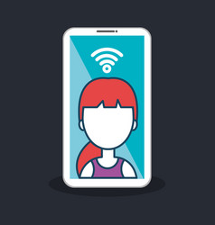Character female smartphone connected internet vector