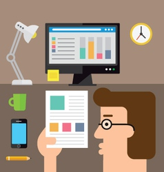 Checking the stats on paper vector image