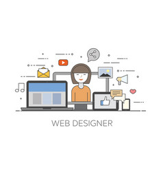 Cloud internet web designer happy user social vector