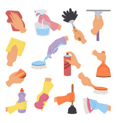 Collection with cleaning tools in hand flat vector