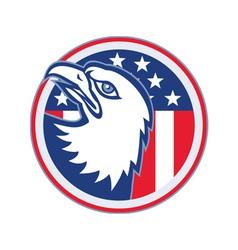 Eagle head american stars stripes flag vector