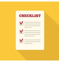 Flat Style Icon with Long Shadow A checklist vector image