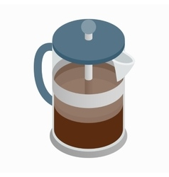 French press coffee maker icon isometric 3d style vector image