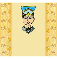 Grunge frame with egyptian queen vector