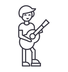 guitar playerflamenco line icon sign vector image