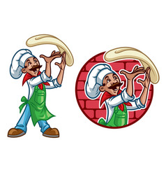 happy chef throw the pizza dough vector image
