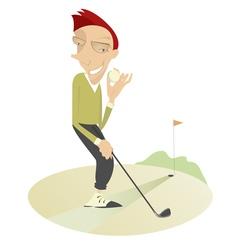 Happy golfer vector image