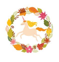 Hello fall autumn unicorn vector
