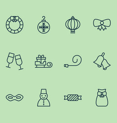 Holiday icons set collection of champagne glasses vector