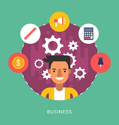 in Flat Design Style Business Icons and vector image vector image