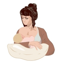 Mother breastfeeding her newborn baby child vector