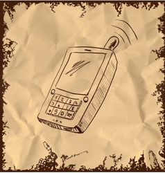 Old mobile phone on vintage background vector image