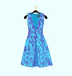 Party dress with flower print vector