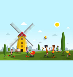 people in city park with windmill flat design vector image