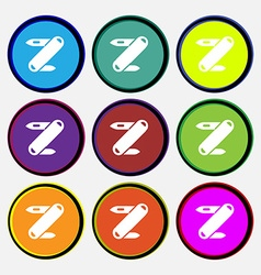 Pocket knife icon sign nine multi colored round vector