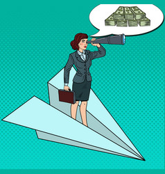 Pop art business woman flying on paper plane vector