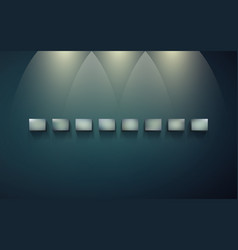 row of shelves for displaying on dark wall vector image