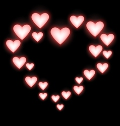 Self-illuminated pink hearts like frame on black vector image vector image
