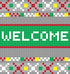 welcome pixel model vector image vector image