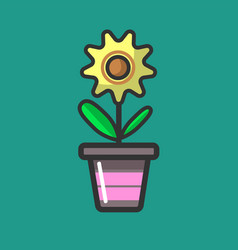 yellow flower with green leaves in special pot vector image vector image