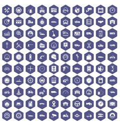 100 garage icons hexagon purple vector
