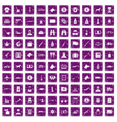 100 smuggling icons set grunge purple vector
