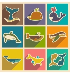 Set flat icons with long shadow whales vector image