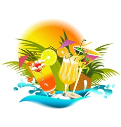 Tropical party drinks vector