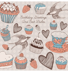 Vintage romantic card with swallows vector