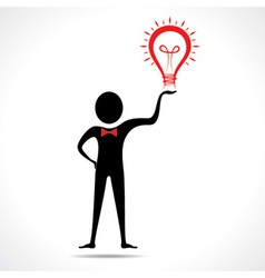 Man holding a bulb -haveing an idea vector