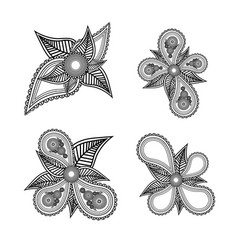 Set of ornate black and white floral design vector