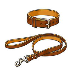 Simple brown leather pet cat dog buckle collar vector