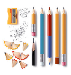 set of sharpened pencils of various lengths vector image