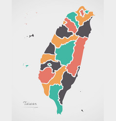 Taiwan map with states and modern round shapes vector