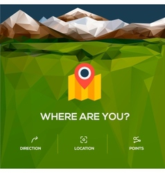 Flat design location icon with pin pointer vector