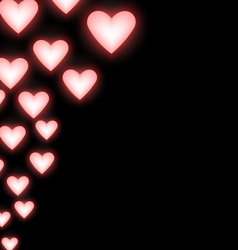 Self-illuminated pink hearts on black vector