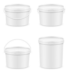 Plastic bucket for paint 04 vector