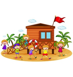 Children and hut vector