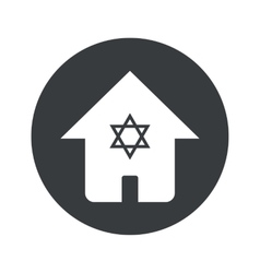 Monochrome round jewish house icon vector