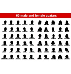 60 male and female avatars vector image