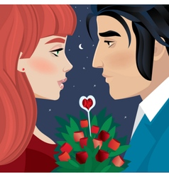 Loving couple on a date vector