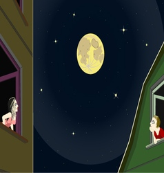 Romantic moonlight night vector