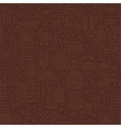Thin line brown kitchenware and cooking seamless vector